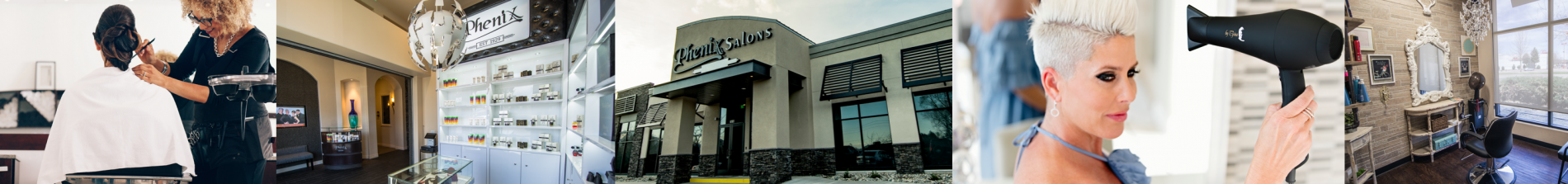A collage of interior and exterior Phenix Salon Suites location shots.